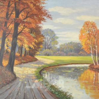 Gemälde ''Waldstück mit Bach''