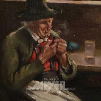 kl. Gemälde ''Der Pfeifenraucher''