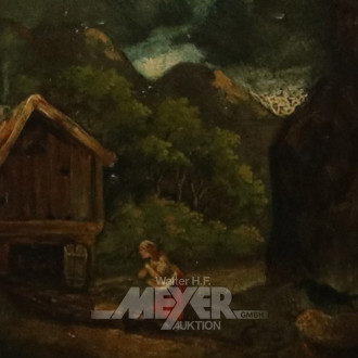 kl. Gemälde ''Romantische Landschaft
