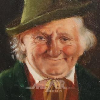 kl. Gemälde ''Mann mit Hut''