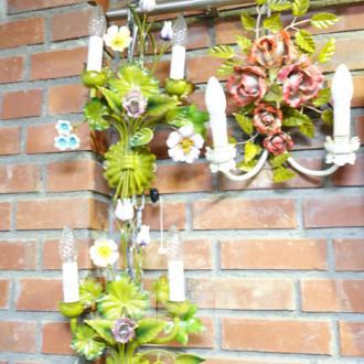 7 Wandleuchter, Metall, florale Form
