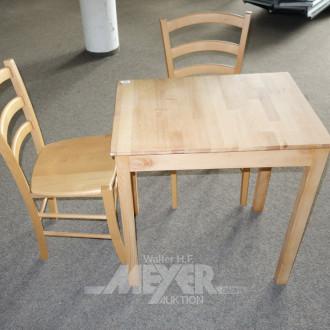 kl. Küchentisch mit 2 Stühlen, Buche