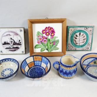 7 Teile Keramik: Kachelplatten, Schalen u.