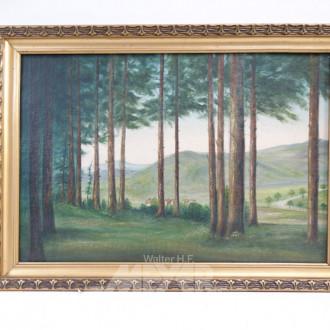 Gemälde ''Waldlandschaft mit Dorfansicht''