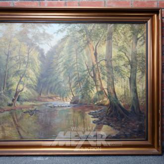Gemälde ''Waldlandschaft mit Fluß''