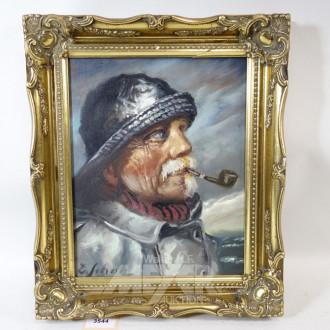 Gemälde ''Pfeife rauchender Fischer''