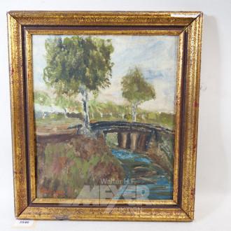 Gemälde ''Brücke mit Birkenallee''