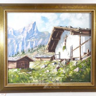 Gemälde ''Berglandschaft mit Hütte''