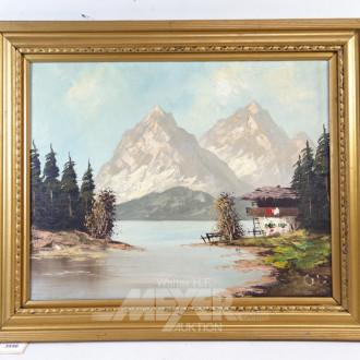 Gemälde ''Waldlandschaft mit Flußlauf''