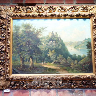 Gemälde ''Landschaft mit Burg''