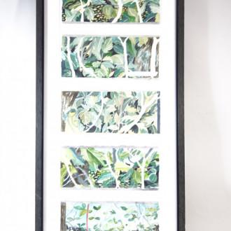 5 einzelne Aquarelle ''Blüten/Blätter''