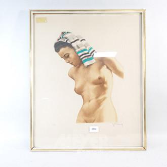 Farblithografie ''weiblicher Akt''