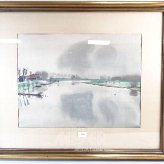 Aquarell ''Dorf am Flußlauf''