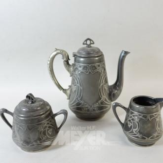 Kaffee-Zucker-Rahm-Set, im Jugendstil,