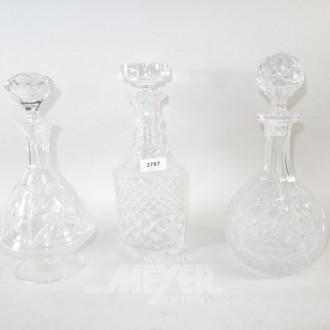 3 versch. Kristall Karaffen