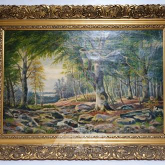 Gemälde, ''Waldlandschaft mit Rotwild''