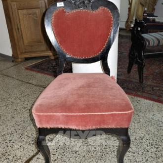 Einzelstuhl, schwarz, Bezug Velours rosè