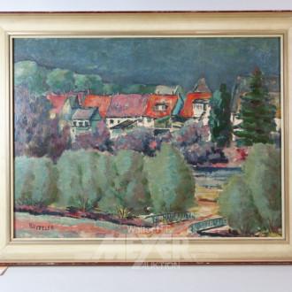 Gemälde ''Dorfansicht mit Brücke''