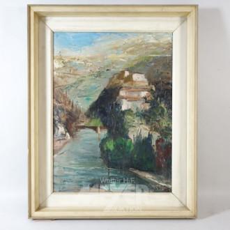 Gemälde ''Dorfansicht mit See''