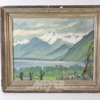 Gemälde ''Dorfansicht vor Gebirgssee''