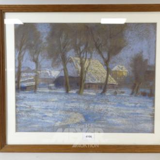 Kreidezeichnung ''Verschneites Dorf''