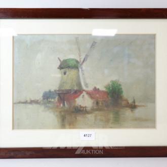 Aquarell ''Windmühle''