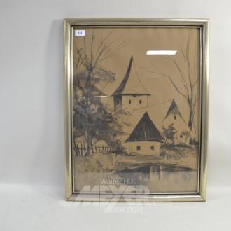 Bild ''Dorfansicht'' 62 x 67 cm