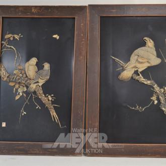 2 Holzreliefs ''Vögel''