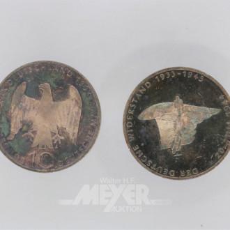 2 Gedenkmünzen à 10 DM