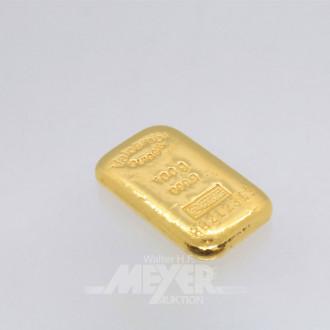 kl. Goldbarren 999,9, 100 g, gegossen,