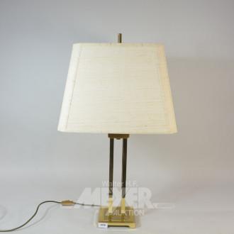 Tisch-Lampe, Fuß: Messing, Schirm: beige