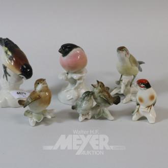 7 Porzellanfiguren: Vögel u.a. EMS