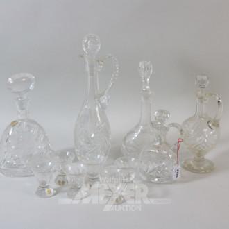 5 Kristall-Karaffen: Sherry, Wein, Whisky