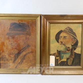 2 Portraits, ''Fischer'', Öl/Hartfaser,