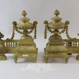 Paar Kaminhunde, Historismus, vergoldet