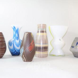 6 versch. Vasen, Glas u. Keramik