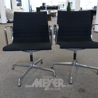 2 Stühle, drehbar, Stoff schwarz,