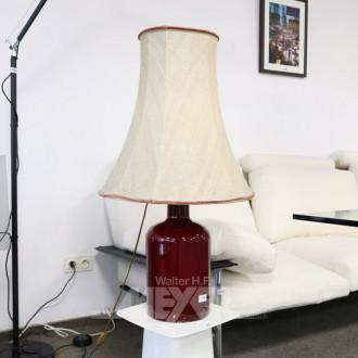 Tischlampe, Glasfuß, rot,