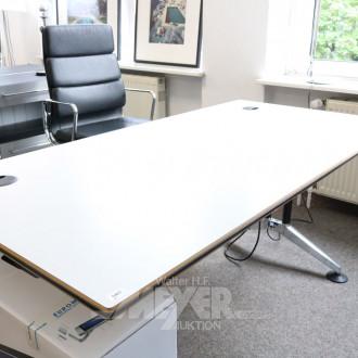 Schreibtisch weiß, Chromfüße,