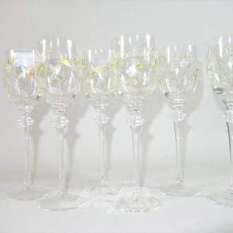 12 Weingläser mit Vogeldekor