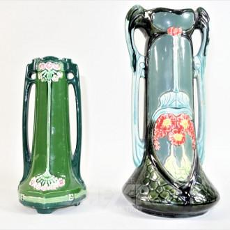 2 Vasen, Jugendstil, grün,