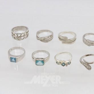 25 Silberringe und Ohrgehänge