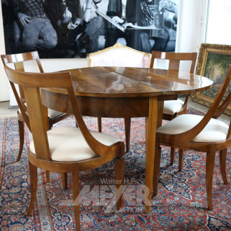 Tischgruppe, Mahagoni, best. aus: