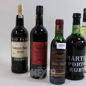 5 Flaschen versch. Alkoholika: