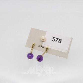 Paar Ohrgehänge, 585er GG mit