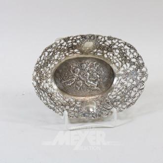 kl. ovale Gebäckschale, 800er Silber