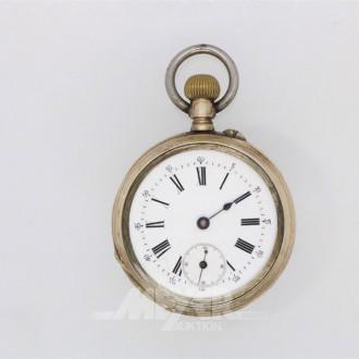 Taschenuhr, Silber, Uhrenglas fehlt