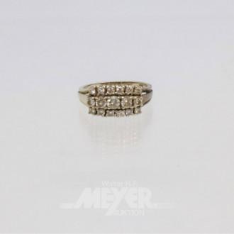 Ring, 585er Weißgold , besetzt