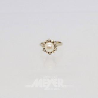 Ring, 585er Weißgold, mit 6 Diamanten