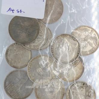 14 Münzen ''Deutsches Reich''